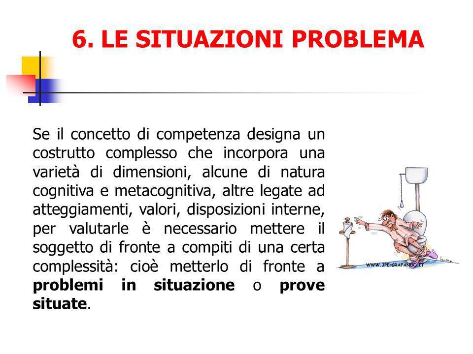 6. LE SITUAZIONI PROBLEMA Se il concetto di competenza designa un costrutto complesso che incorpora una varietà di dimensioni, alcune di natura cognit