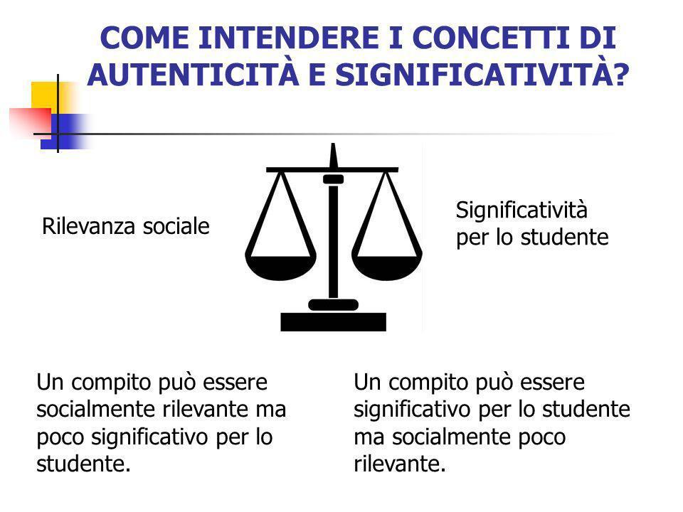 COME INTENDERE I CONCETTI DI AUTENTICITÀ E SIGNIFICATIVITÀ? Un compito può essere socialmente rilevante ma poco significativo per lo studente. Un comp