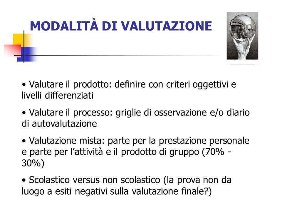 MODALITÀ DI VALUTAZIONE Valutare il prodotto: definire con criteri oggettivi e livelli differenziati Valutare il processo: griglie di osservazione e/o