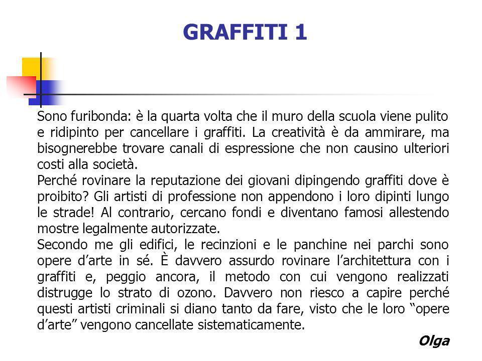 GRAFFITI 1 Sono furibonda: è la quarta volta che il muro della scuola viene pulito e ridipinto per cancellare i graffiti. La creatività è da ammirare,