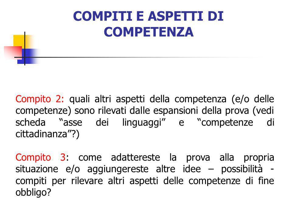 COMPITI E ASPETTI DI COMPETENZA Compito 2: quali altri aspetti della competenza (e/o delle competenze) sono rilevati dalle espansioni della prova (ved
