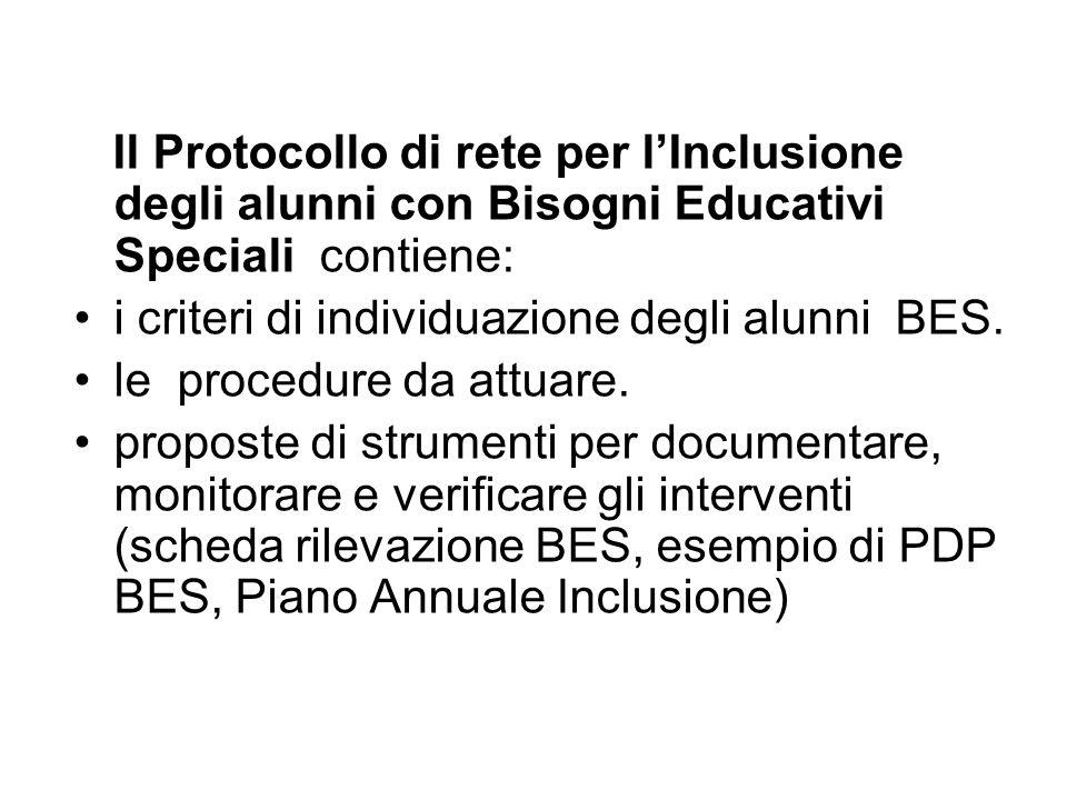 Il Protocollo di rete per lInclusione degli alunni con Bisogni Educativi Speciali contiene: i criteri di individuazione degli alunni BES.