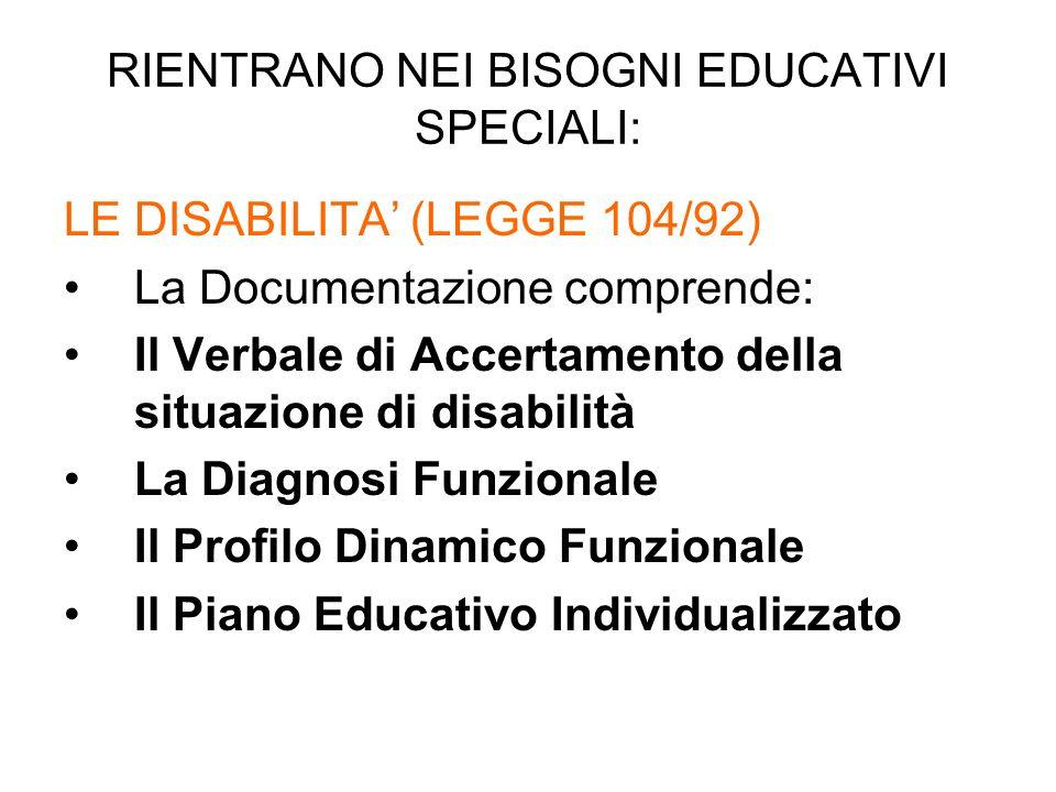RIENTRANO NEI BISOGNI EDUCATIVI SPECIALI: LE DISABILITA (LEGGE 104/92) La Documentazione comprende: Il Verbale di Accertamento della situazione di disabilità La Diagnosi Funzionale Il Profilo Dinamico Funzionale Il Piano Educativo Individualizzato