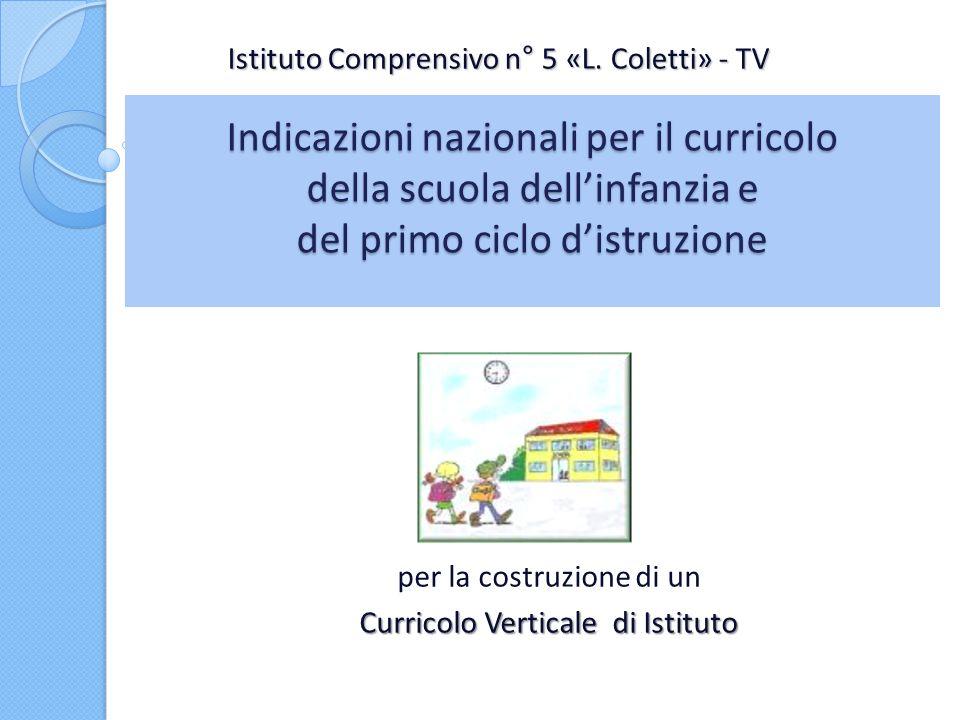 Indicazioni nazionali per il curricolo della scuola dellinfanzia e del primo ciclo distruzione per la costruzione di un Curricolo Verticale di Istitut