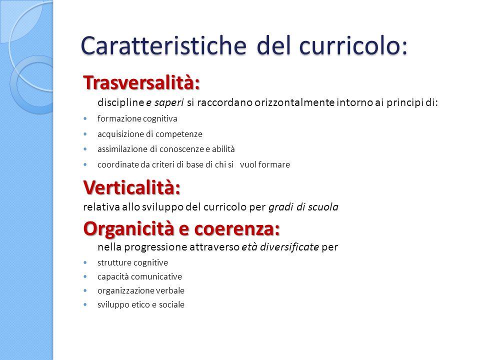 Caratteristiche del curricolo: Trasversalità: Trasversalità: discipline e saperi si raccordano orizzontalmente intorno ai principi di: formazione cogn