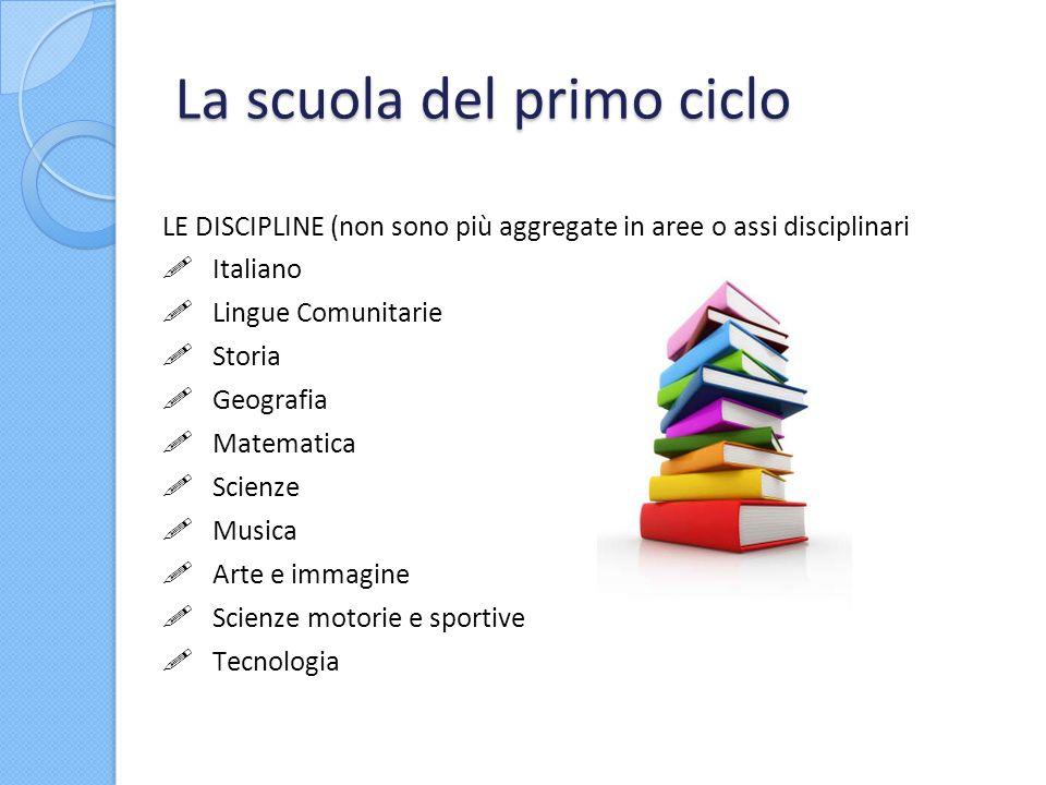 La scuola del primo ciclo LE DISCIPLINE (non sono più aggregate in aree o assi disciplinari Italiano Lingue Comunitarie Storia Geografia Matematica Sc
