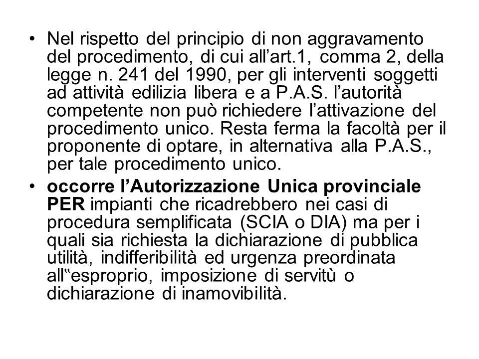 Nel rispetto del principio di non aggravamento del procedimento, di cui allart.1, comma 2, della legge n. 241 del 1990, per gli interventi soggetti ad