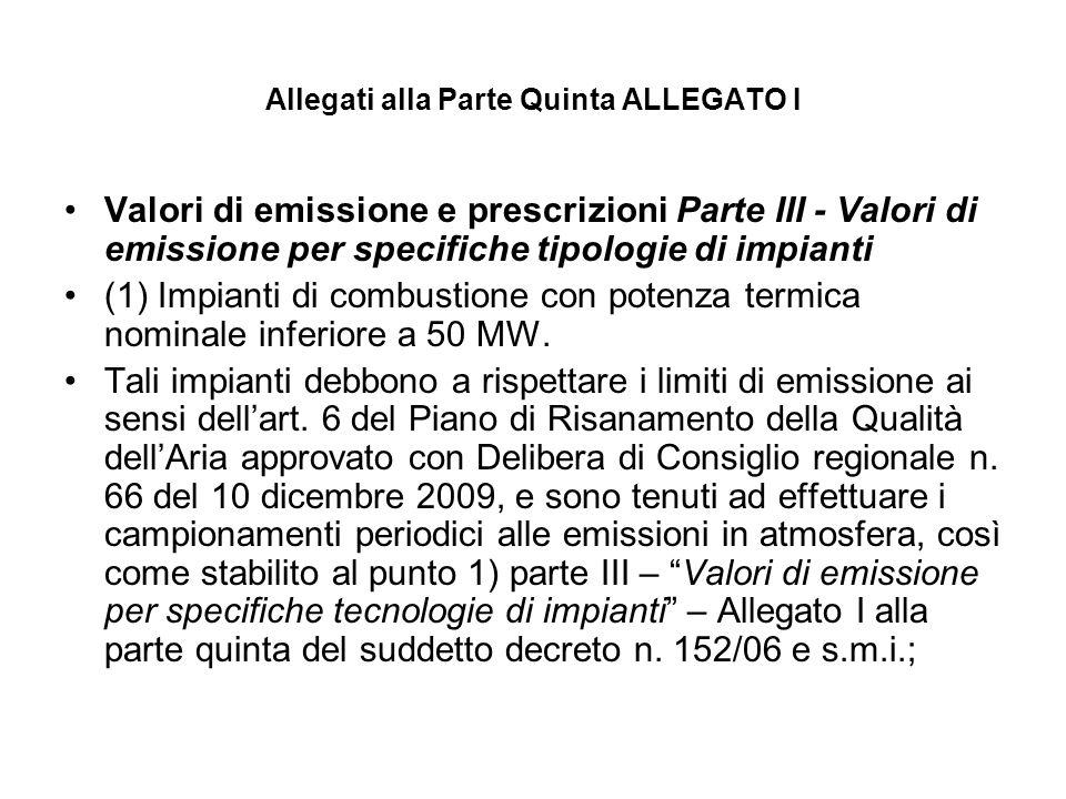 Allegati alla Parte Quinta ALLEGATO I Valori di emissione e prescrizioni Parte III - Valori di emissione per specifiche tipologie di impianti (1) Impi