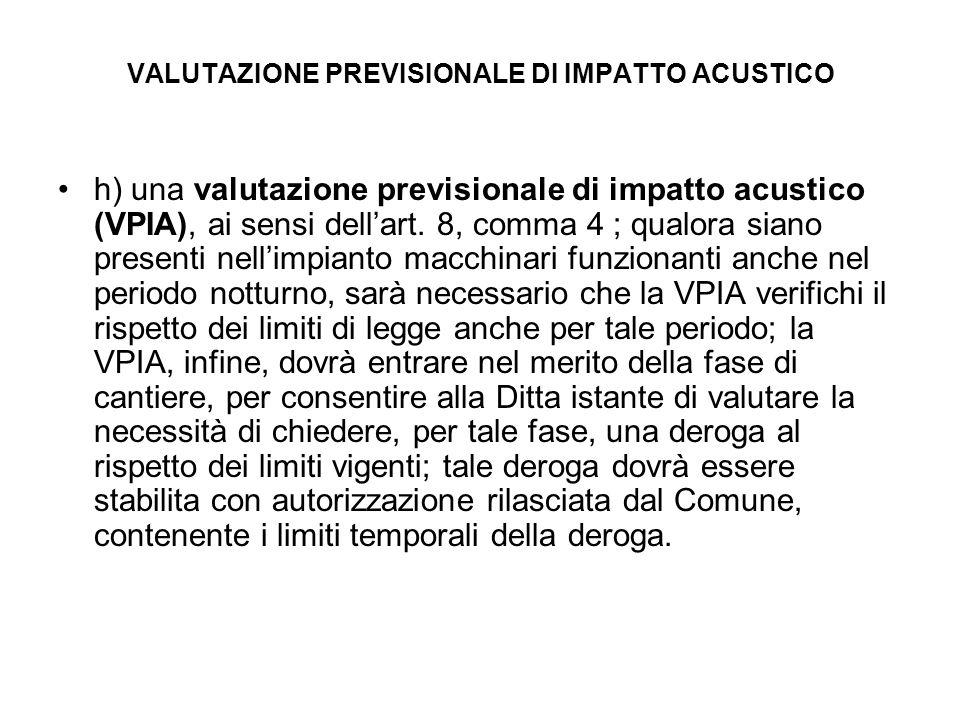 VALUTAZIONE PREVISIONALE DI IMPATTO ACUSTICO h) una valutazione previsionale di impatto acustico (VPIA), ai sensi dellart. 8, comma 4 ; qualora siano
