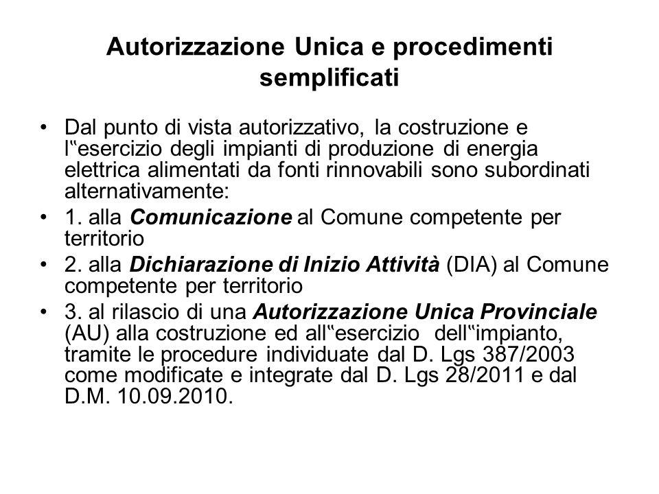 Autorizzazione Unica e procedimenti semplificati Dal punto di vista autorizzativo, la costruzione e l esercizio degli impianti di produzione di energi