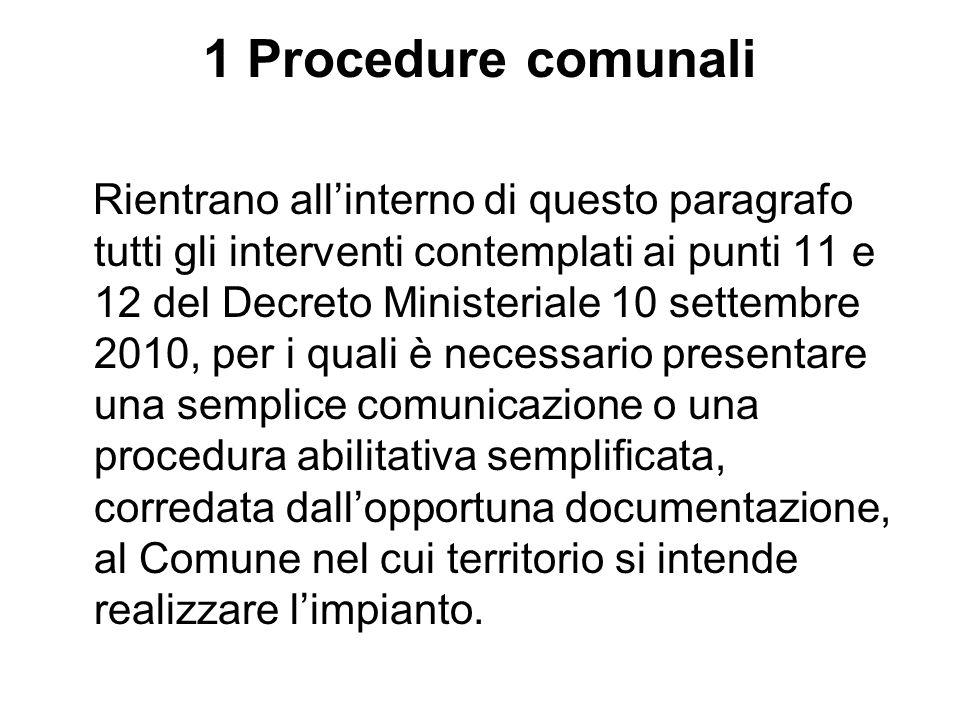 1 Procedure comunali Rientrano allinterno di questo paragrafo tutti gli interventi contemplati ai punti 11 e 12 del Decreto Ministeriale 10 settembre