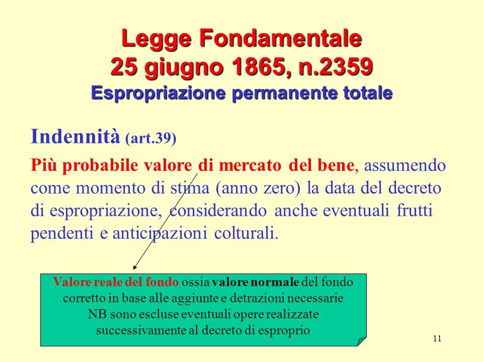 11 Legge Fondamentale 25 giugno 1865, n.2359 Espropriazione permanente totale Valore reale del fondo ossia valore normale del fondo corretto in base a