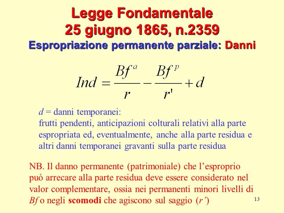 13 Legge Fondamentale 25 giugno 1865, n.2359 Espropriazione permanente parziale: Danni d = danni temporanei: frutti pendenti, anticipazioni colturali