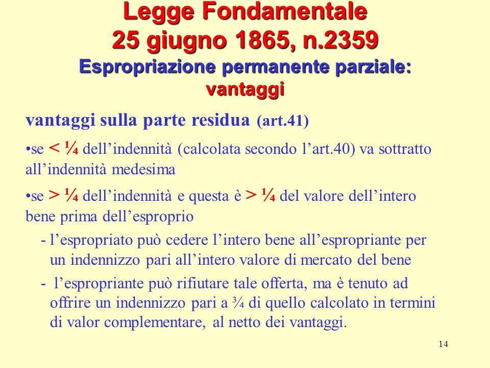 14 Legge Fondamentale 25 giugno 1865, n.2359 Espropriazione permanente parziale: vantaggi vantaggi sulla parte residua (art.41) se < ¼ dellindennità (