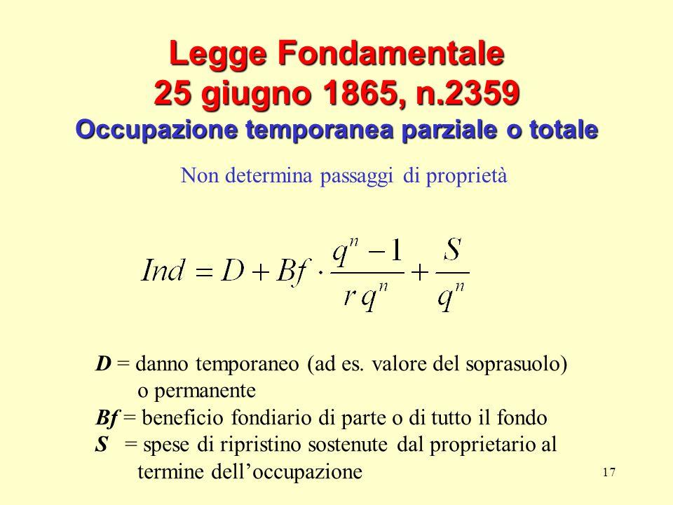 17 Legge Fondamentale 25 giugno 1865, n.2359 Occupazione temporanea parziale o totale Non determina passaggi di proprietà D = danno temporaneo (ad es.