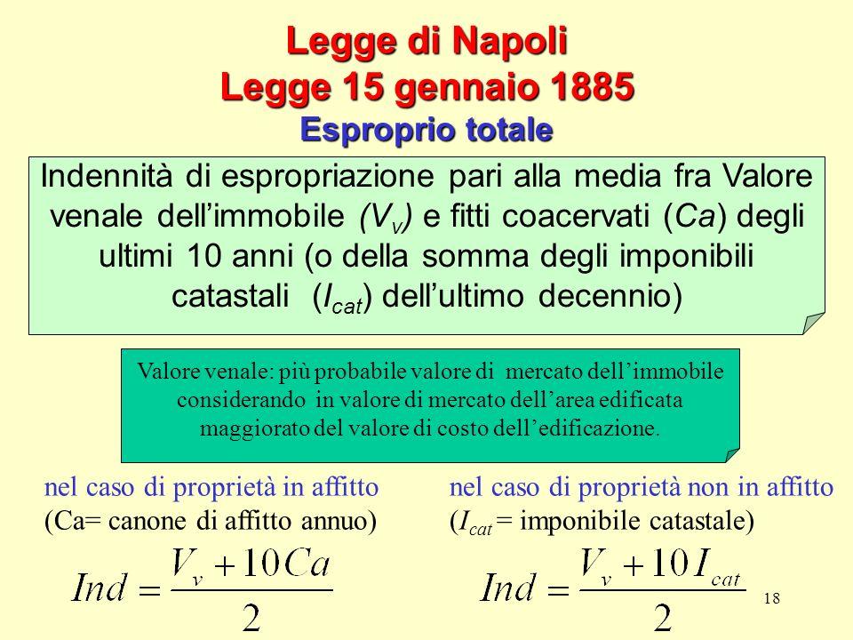 18 Legge di Napoli Legge 15 gennaio 1885 Esproprio totale nel caso di proprietà in affitto (Ca= canone di affitto annuo) nel caso di proprietà non in