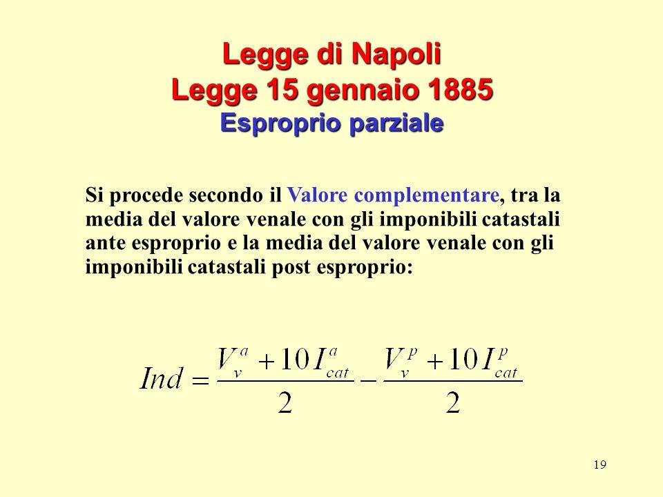 19 Legge di Napoli Legge 15 gennaio 1885 Esproprio parziale Si procede secondo il Valore complementare, tra la media del valore venale con gli imponib