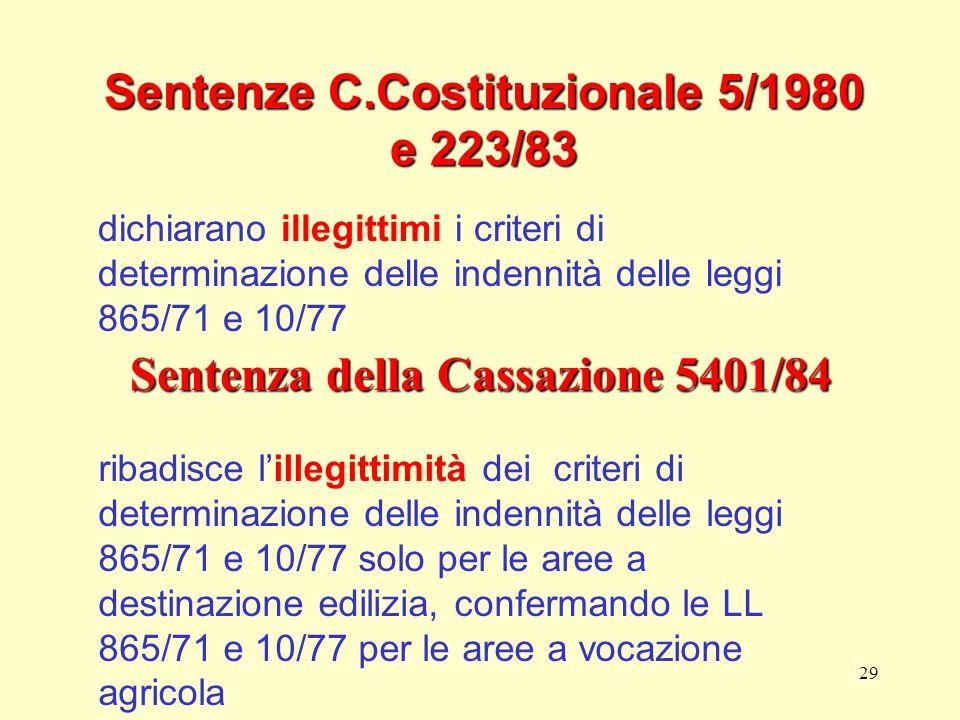 29 Sentenze C.Costituzionale 5/1980 e 223/83 dichiarano illegittimi i criteri di determinazione delle indennità delle leggi 865/71 e 10/77 Sentenza de