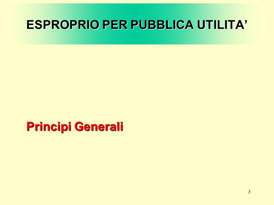 3 ESPROPRIO PER PUBBLICA UTILITA Principi Generali