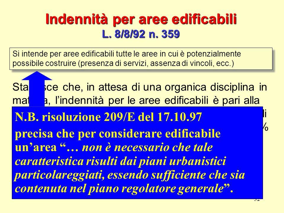 32 Indennità per aree edificabili L. 8/8/92 n. 359 Si intende per aree edificabili tutte le aree in cui è potenzialmente possibile costruire (presenza