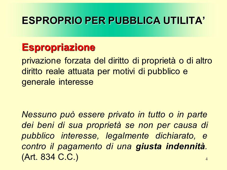 4 ESPROPRIO PER PUBBLICA UTILITA Nessuno può essere privato in tutto o in parte dei beni di sua proprietà se non per causa di pubblico interesse, lega