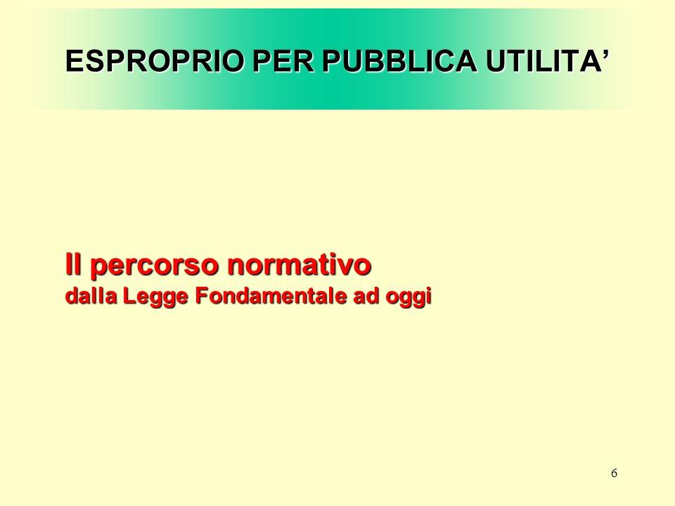 37 ESPROPRIO PER PUBBLICA UTILITA Le incertezze attuali La sentenza della Corte Costituzionale (2007)
