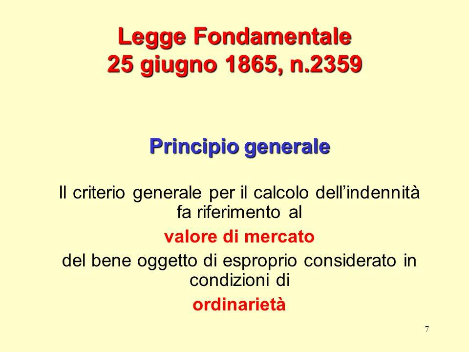 7 Legge Fondamentale 25 giugno 1865, n.2359 Principio generale Il criterio generale per il calcolo dellindennità fa riferimento al valore di mercato d