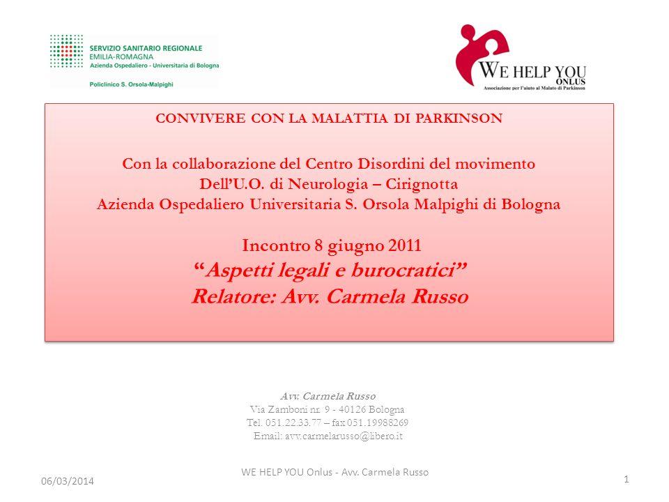WE HELP YOU Onlus - Avv. Carmela Russo 1 06/03/2014 Avv. Carmela Russo Via Zamboni nr. 9 - 40126 Bologna Tel. 051.22.33.77 – fax 051.19988269 Email: a