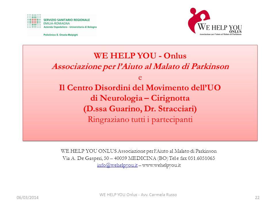 WE HELP YOU Onlus - Avv. Carmela Russo 22 WE HELP YOU ONLUS Associazione per lAiuto al Malato di Parkinson Via A. De Gasperi, 50 – 40059 MEDICINA (BO)