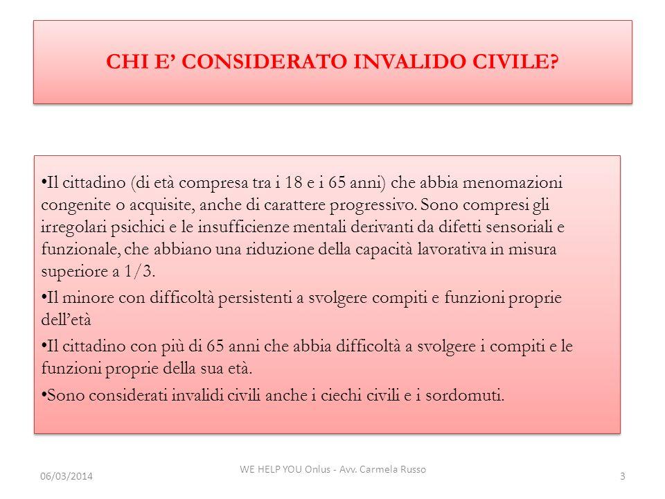 WE HELP YOU Onlus - Avv. Carmela Russo 3 Il cittadino (di età compresa tra i 18 e i 65 anni) che abbia menomazioni congenite o acquisite, anche di car