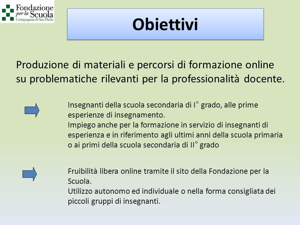 Produzione di materiali e percorsi di formazione online su problematiche rilevanti per la professionalità docente.