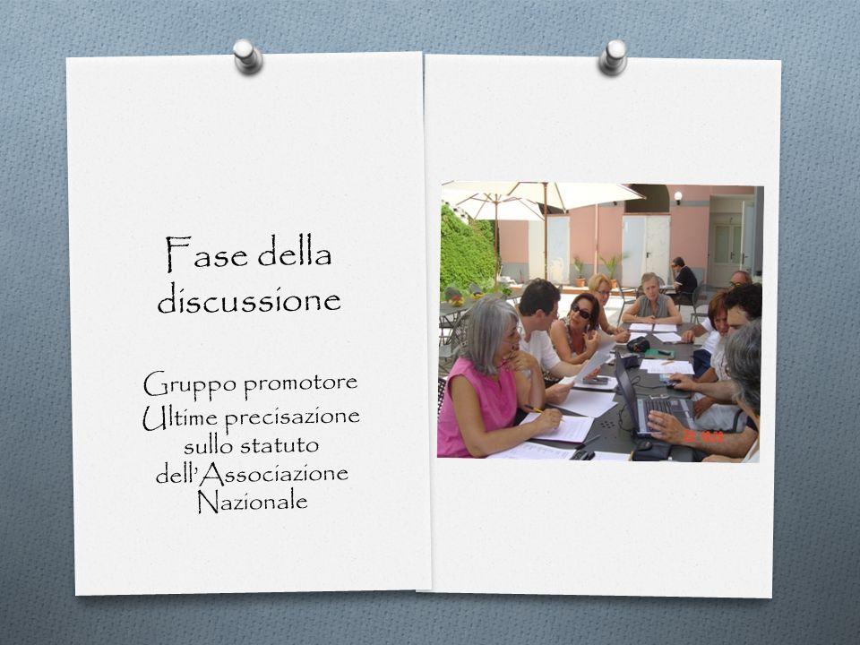 Fase della discussione Gruppo promotore Ultime precisazione sullo statuto dellAssociazione Nazionale
