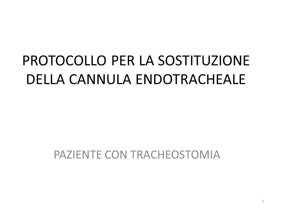 PROTOCOLLO PER LA SOSTITUZIONE DELLA CANNULA ENDOTRACHEALE PAZIENTE CON TRACHEOSTOMIA 1