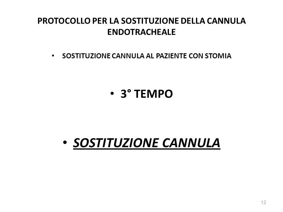 PROTOCOLLO PER LA SOSTITUZIONE DELLA CANNULA ENDOTRACHEALE SOSTITUZIONE CANNULA AL PAZIENTE CON STOMIA 3° TEMPO SOSTITUZIONE CANNULA 12