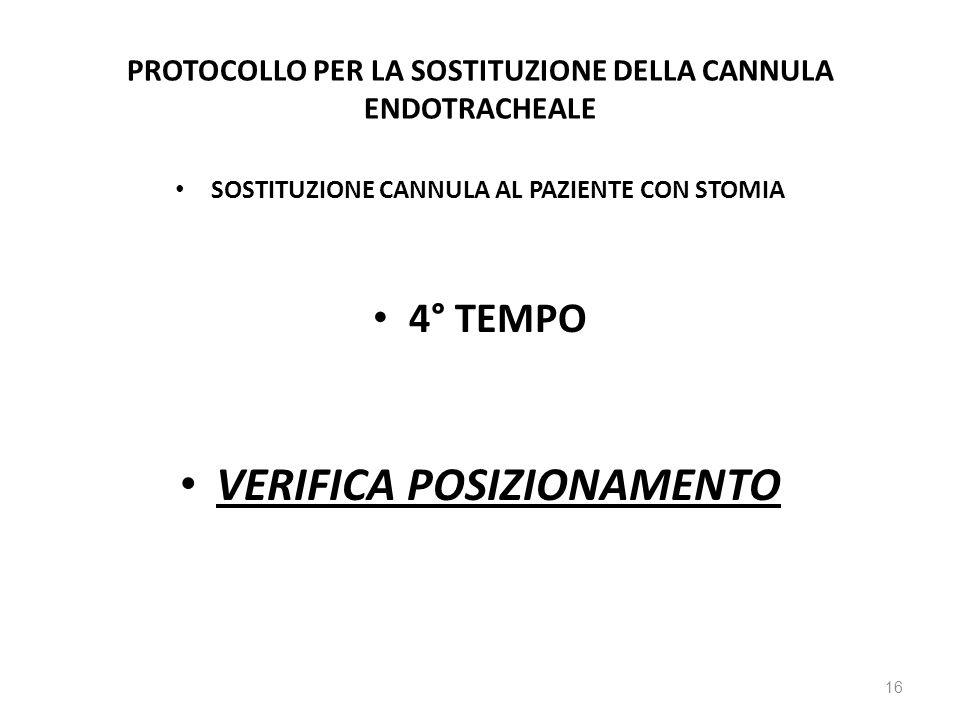 PROTOCOLLO PER LA SOSTITUZIONE DELLA CANNULA ENDOTRACHEALE SOSTITUZIONE CANNULA AL PAZIENTE CON STOMIA 4° TEMPO VERIFICA POSIZIONAMENTO 16