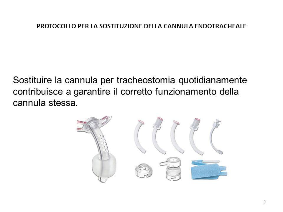 PROTOCOLLO PER LA SOSTITUZIONE DELLA CANNULA ENDOTRACHEALE 2 Sostituire la cannula per tracheostomia quotidianamente contribuisce a garantire il corre