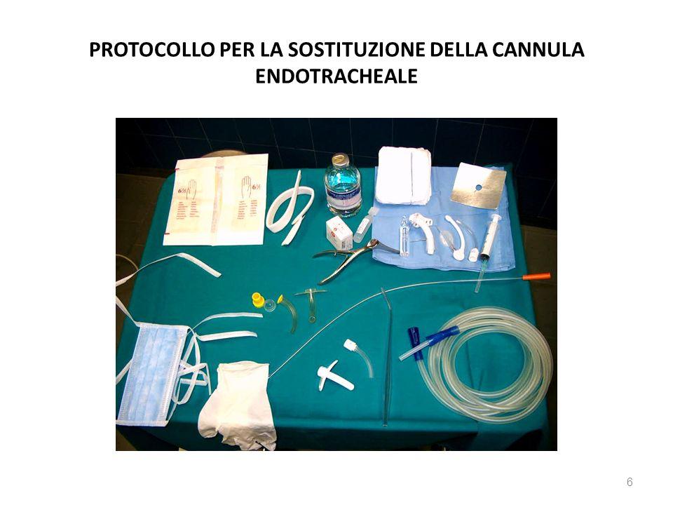 PROTOCOLLO PER LA SOSTITUZIONE DELLA CANNULA ENDOTRACHEALE 6