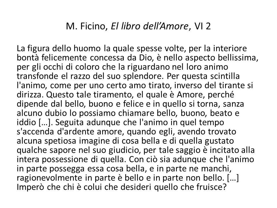 M. Ficino, El libro dellAmore, VI 2 La figura dello huomo la quale spesse volte, per la interiore bontà felicemente concessa da Dio, è nello aspecto b