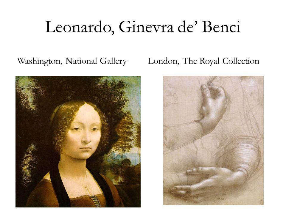 Leonardo, Disegno preparatorio per il ritratto di Ginevra de Benci, London, The Royal Collection Raffaello, Ritratto di B.
