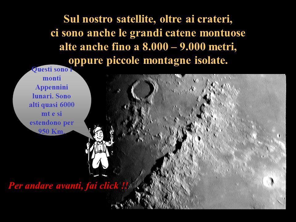 I crateri si formarono molti milioni di anni fa quando la Luna era ancora giovane a causa della caduta di meteoriti i quali provocarono la formazione di moltissimi buchi (i crateri) larghi da pochi metri fino a 200 – 300 chilometri.