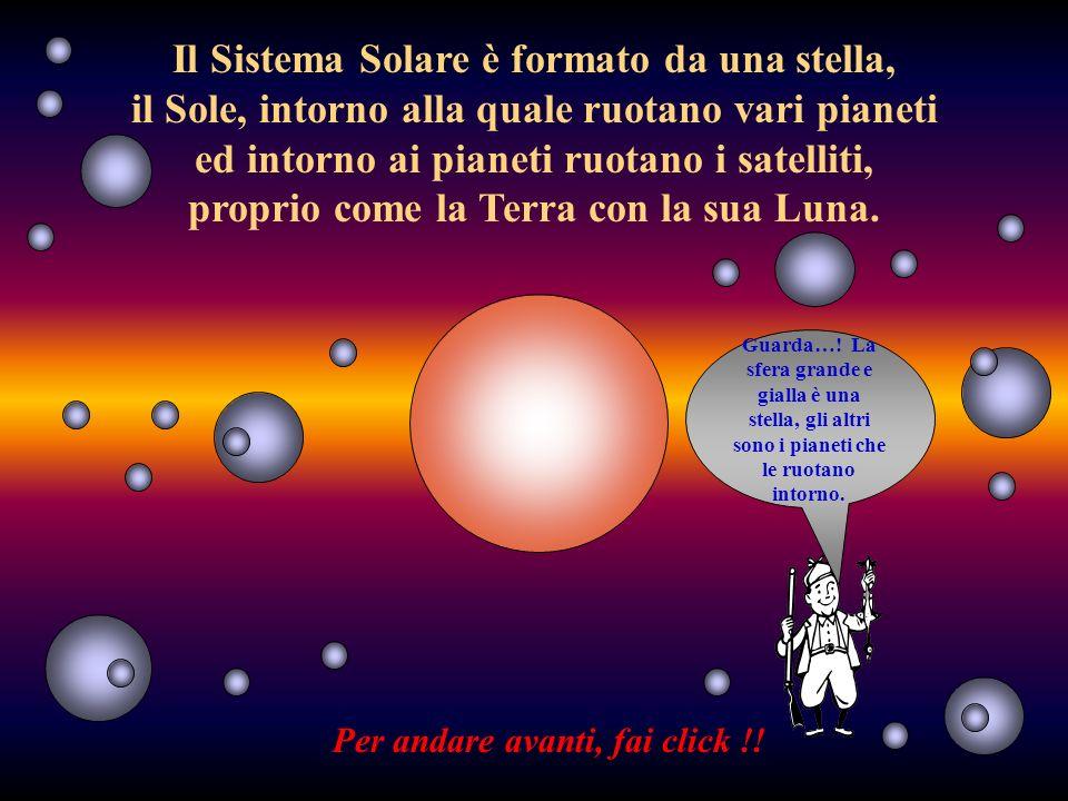 Il Sistema Solare è formato da una stella, il Sole, intorno alla quale ruotano vari pianeti ed intorno ai pianeti ruotano i satelliti, proprio come la Terra con la sua Luna.
