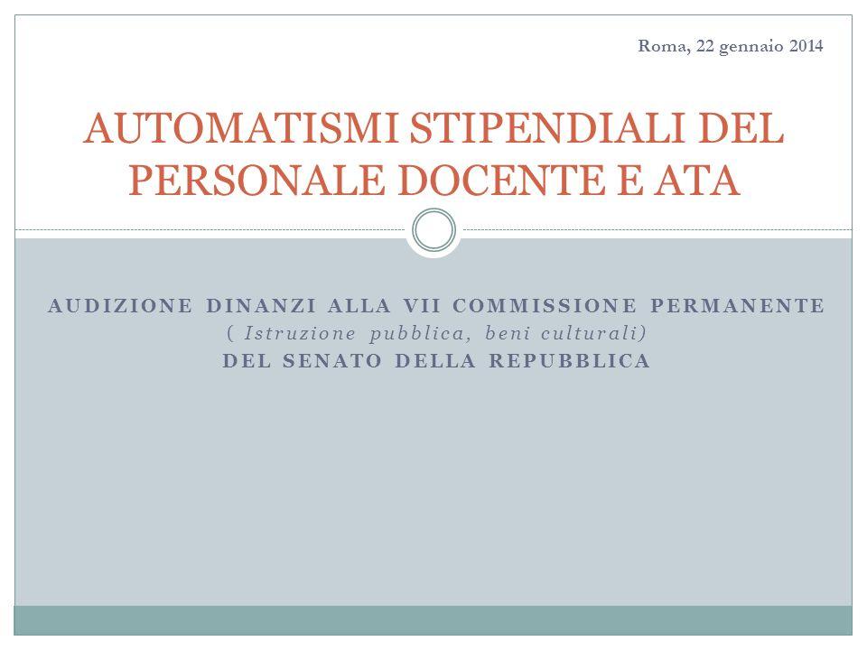 3/6/2014 AUDIZIONE DINANZI ALLA VII COMMISSIONE PERMANENTE ( Istruzione pubblica, beni culturali) DEL SENATO DELLA REPUBBLICA AUTOMATISMI STIPENDIALI DEL PERSONALE DOCENTE E ATA Roma, 22 gennaio 2014