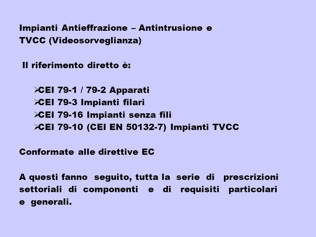 Impianti Antieffrazione – Antintrusione e TVCC (Videosorveglianza) Il riferimento diretto è: CEI 79-1 / 79-2 Apparati CEI 79-3 Impianti filari CEI 79-