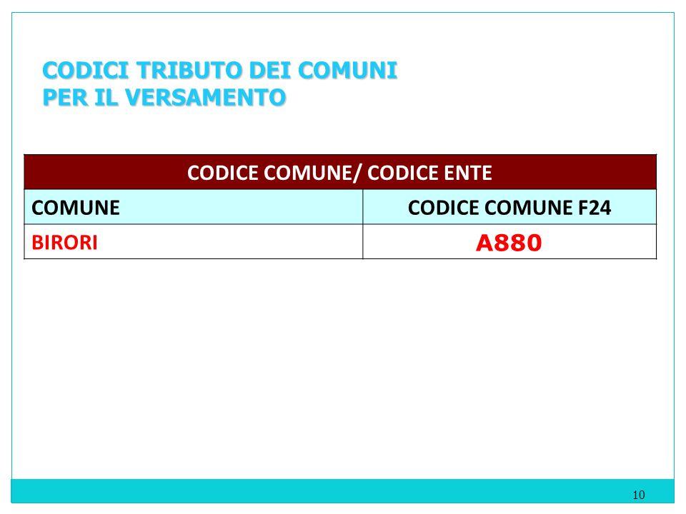 10 CODICI TRIBUTO DEI COMUNI PER IL VERSAMENTO CODICE COMUNE/ CODICE ENTE COMUNECODICE COMUNE F24 BIRORI A880