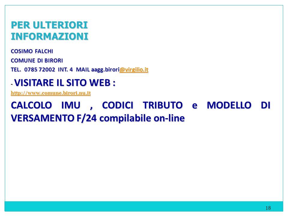 COSIMO FALCHI COMUNE DI BIRORI TEL. 0785 72002 INT.
