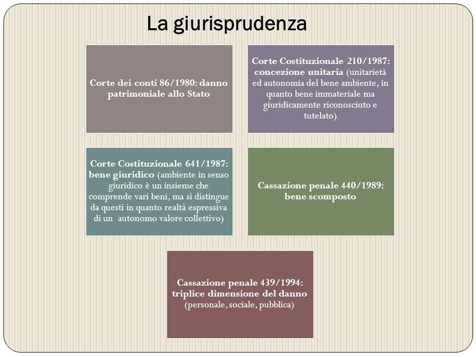 Corte dei conti 86/1980: danno patrimoniale allo Stato Corte Costituzionale 210/1987: concezione unitaria (unitarietà ed autonomia del bene ambiente,