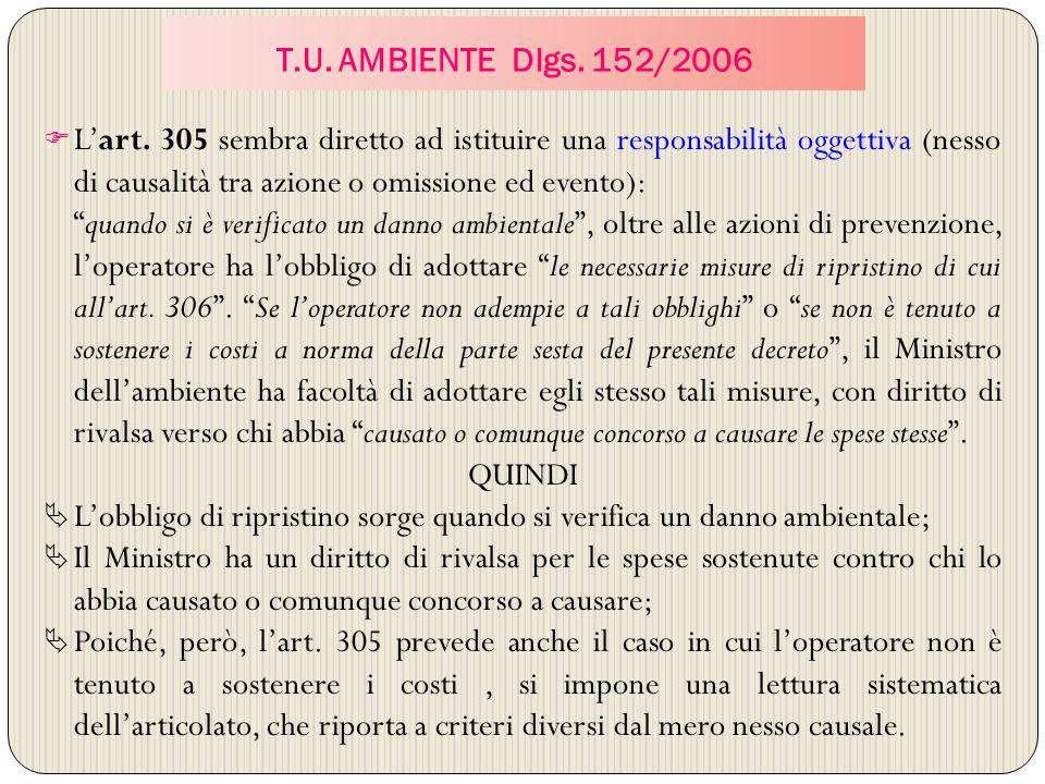 T.U. AMBIENTE Dlgs. 152/2006 Lart. 305 sembra diretto ad istituire una responsabilità oggettiva (nesso di causalità tra azione o omissione ed evento):