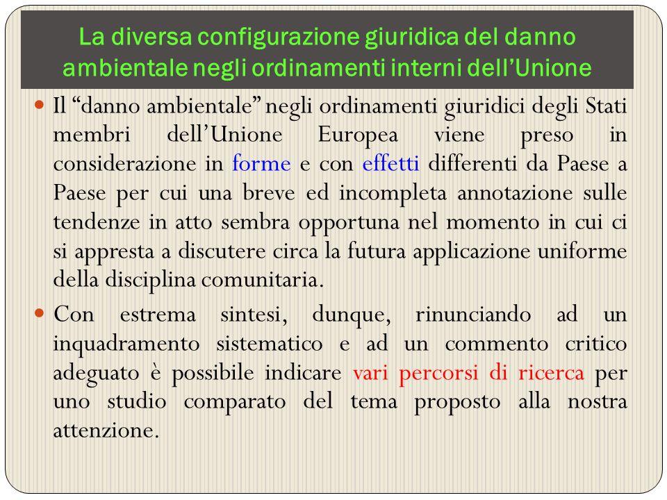 La diversa configurazione giuridica del danno ambientale negli ordinamenti interni dellUnione Il danno ambientale negli ordinamenti giuridici degli St