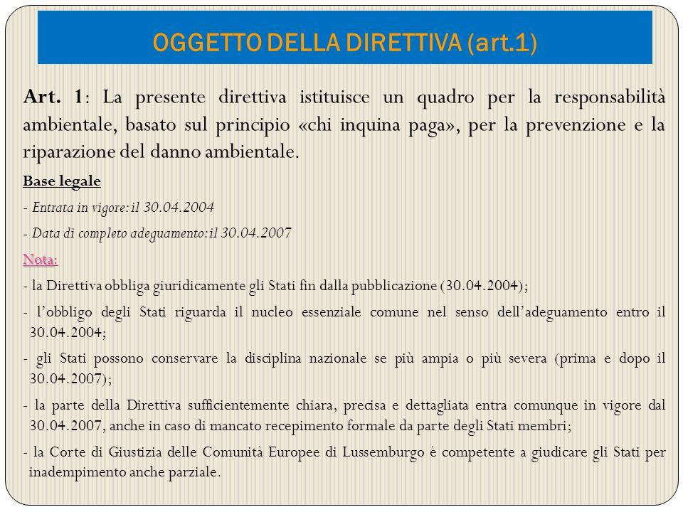 OGGETTO DELLA DIRETTIVA (art.1) Art. 1: La presente direttiva istituisce un quadro per la responsabilità ambientale, basato sul principio «chi inquina