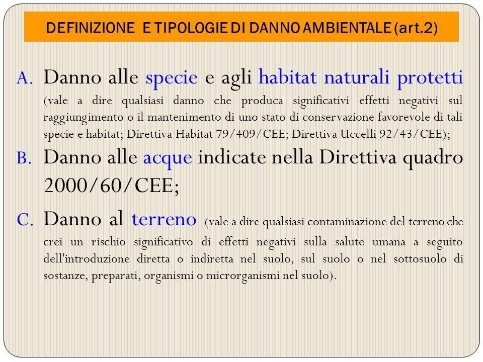 DEFINIZIONE E TIPOLOGIE DI DANNO AMBIENTALE (art.2) A. Danno alle specie e agli habitat naturali protetti (vale a dire qualsiasi danno che produca sig